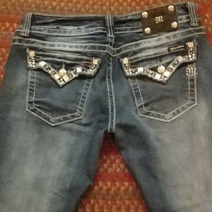 """Miss Me skinny jeans w/chunky crystals. 32' X 32"""""""